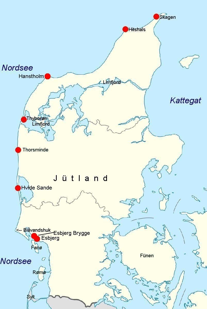 Dänemark Nordseeküste Karte.Online Hafenhandbuch Dänemark Häfen Und Marinas An Der Nordseeküste
