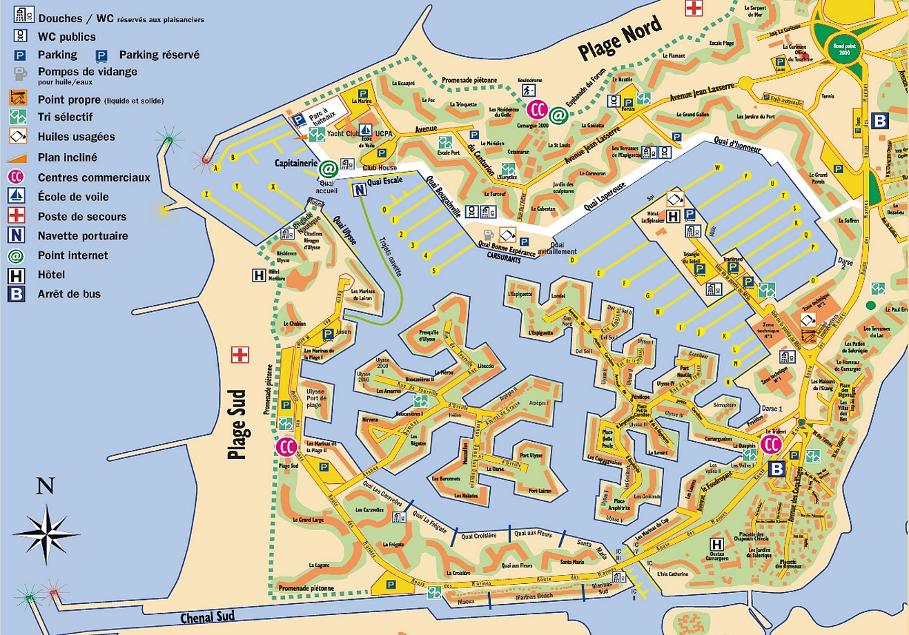 Camargue Karte.Revierinformation Für Segler Beschreibung Der Marina Port Camargue