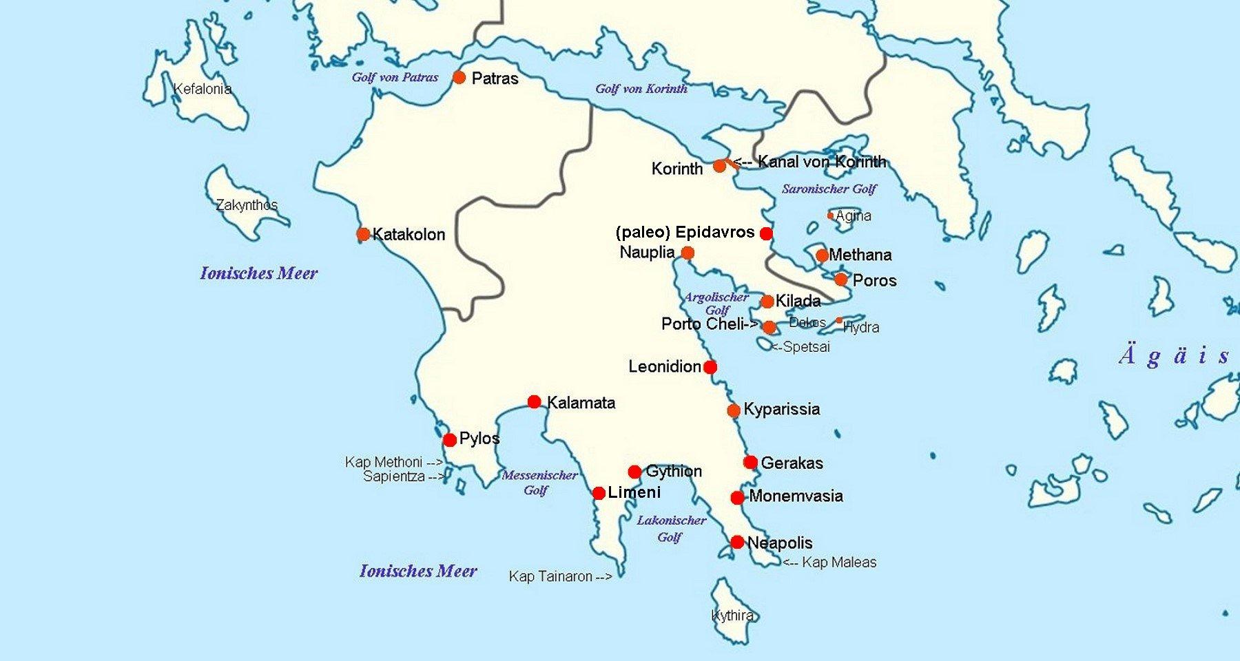 Karte Griechenland Peloponnes.Online Hafenhandbuch Griechenland Die Halbinsel Peloponnes
