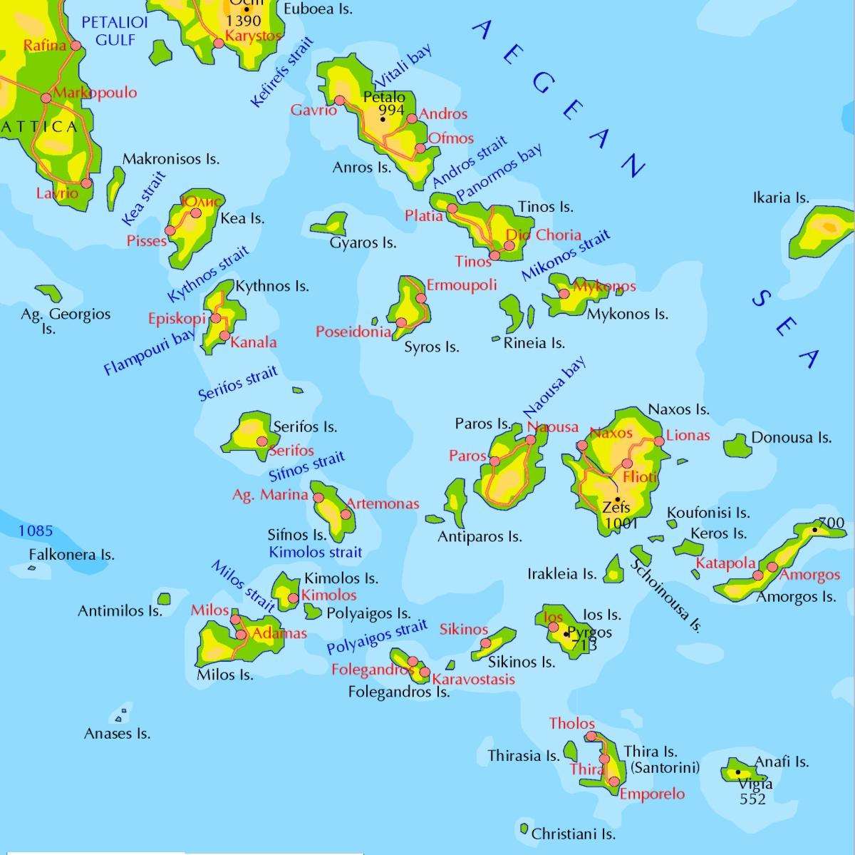 Kykladen Karte.Online Hafenhandbuch Griechenland Inselgruppe Kykladen Und Der