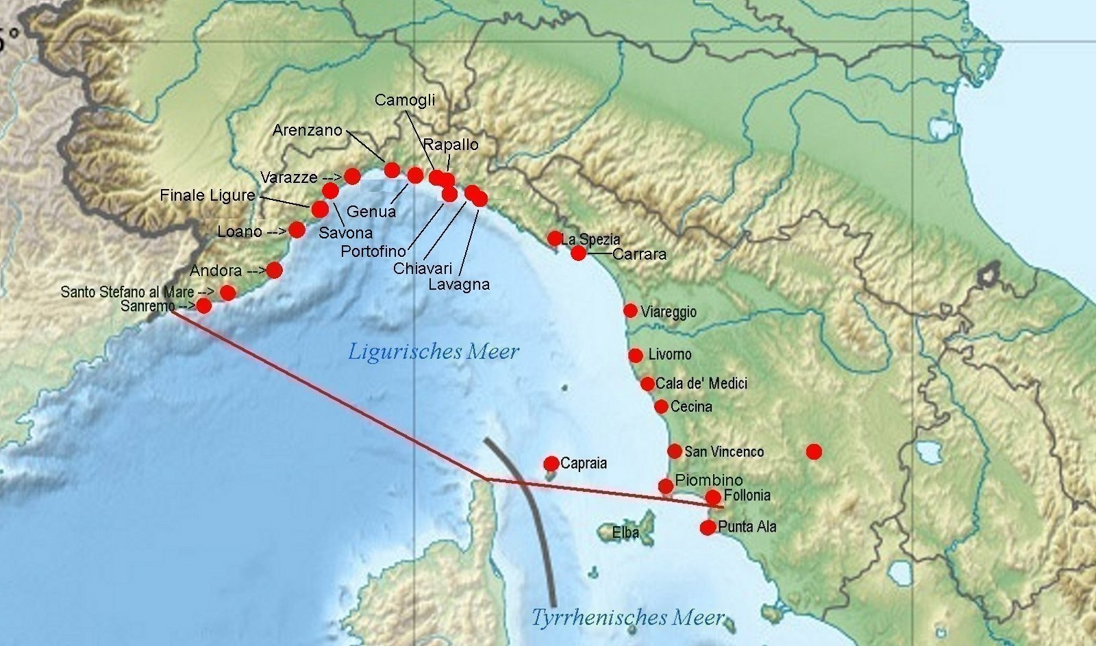 Monaco Italien Karte.Online Hafenhandbuch Italien Ligurisches Meer Und Hafen