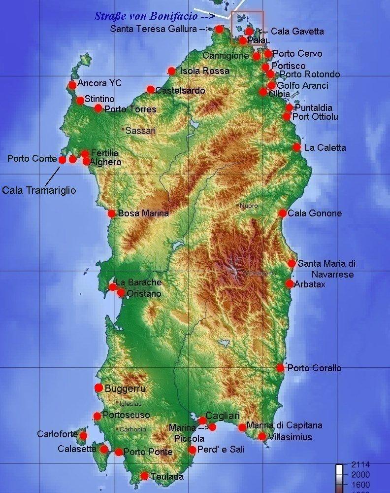 Karte Sardinien Süden.Online Hafenhandbuch Italien Sardinien Und Die Yachthäfen