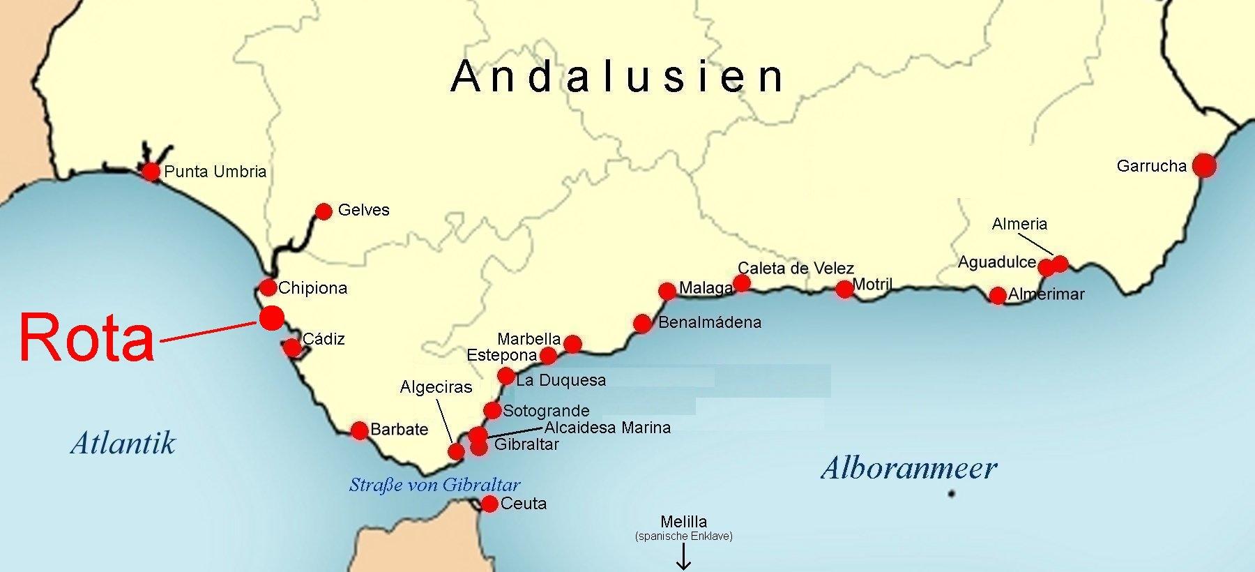 Karte Andalusien Cadiz.Online Hafenhandbuch Spanien Rota Marina Andalusien