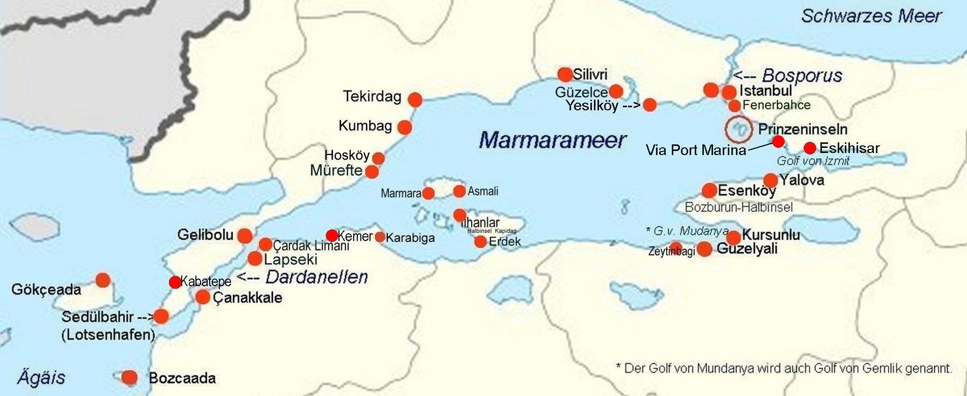 Mittelmeer Karte Inseln.Online Hafenhandbuch Turkei Marmarameers Und Der Hafen